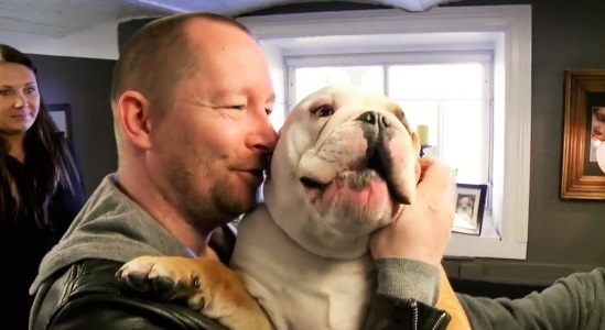 video kind man prepares his dog for great kennel experience